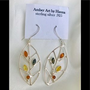 NWT! Amber Art Long Drop Gemstone Earrings